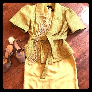 ANN TAYLOR Yellow Silk Dress